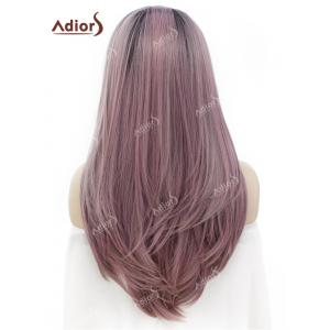 Adidas Long Free Part Ombre Glossy Straight Lace Front perruque synthétique - Rose et Gris