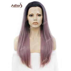 Adiors Long Free Part Ombre Glossy Straight Lace Front Synthetic Wig - Pink And Grey