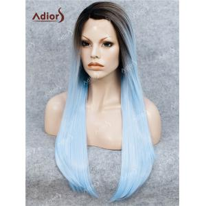 Adiors Long Free Part Ombre Glossy Straight Lace Front Synthetic Wig - WINDSOR BLUE