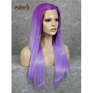Adidas Long Free Part Ombre Glossy Straight Lace Front perruque synthétique - Pourpre