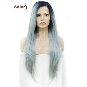 Adiors Long Free Part Ombre Glossy Straight Lace Front Synthetic Wig - Light Blue