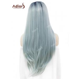 Adidas Long Free Part Ombre Glossy Straight Lace Front perruque synthétique - Bleu clair