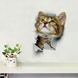 3D Hole View Cat Wall Stickers for Bathroom Living Room - GREYISH BROWN