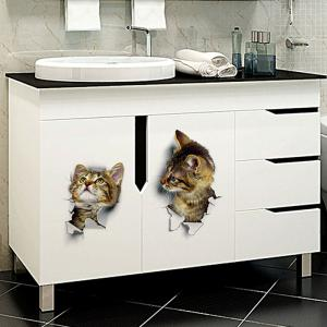 ... 3D Hole View Cat Wall Stickers For Bathroom Living Room ... Part 56