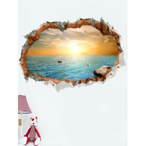 3D Broken Bricks Seaside Sunset Vinyl Wall Sticker