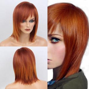 Short Side Bang Straight Bob Human Hair Wig