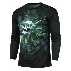 Clock and Skull Printed Crew Neck T-shirt