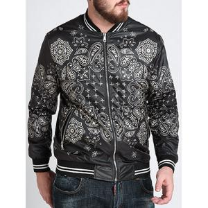 Zipper Fly Ethnic Graphic Pattern Jacket - Black - 6xl