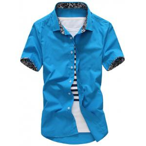 Floral Trim Design Short Sleeve Shirt