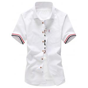 Striped Trim Button Down Pocket Shirt - White - Xl
