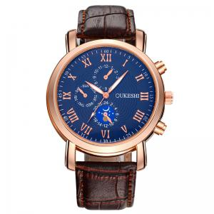 OUKESHI Roman Numeral Faux Leather Strap Analog Watch - Blue + Brown