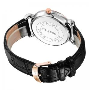 OUKESHI Faux Leather Strap Number Date Quartz Watch - BLACK