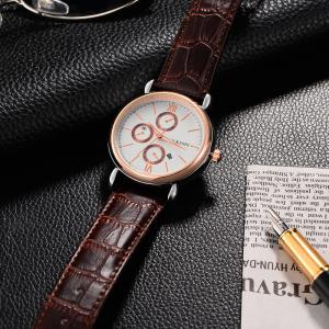 OUKESHI Faux Leather Strap Number Date Quartz Watch - BROWN