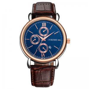 OUKESHI Faux Leather Strap Number Date Quartz Watch - Blue + Brown