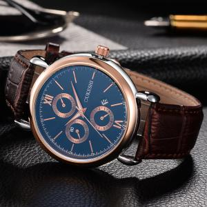 OUKESHI Faux Leather Strap Number Date Quartz Watch - BLUE / BROWN