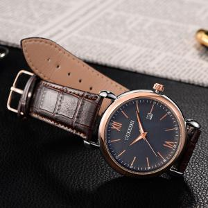 OUKESHI Faux Leather Strap Date Minimalist Watch - BLUE / BROWN