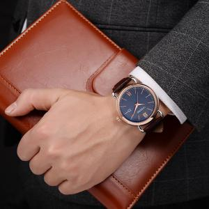 OUKESHI Faux Leather Strap Date Minimalist Watch - Bleu + Brun