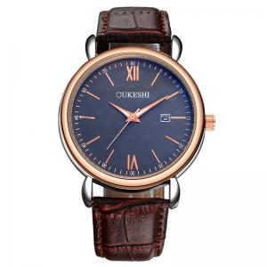 OUKESHI Faux Leather Strap Date Minimalist Watch - Blue + Brown