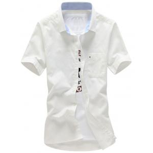 Short Sleeve Button Down Pocket Shirt - White - Xl