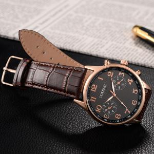 OUKESHI Tachymeter Number Faux Leather Strap Watch - BLACK/BROWN