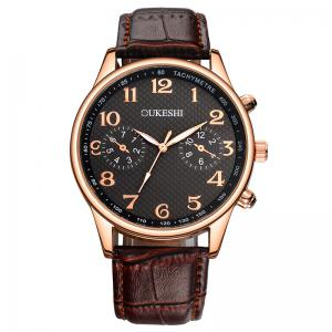OUKESHI Tachymeter Number Faux Leather Strap Watch - Black And Brown