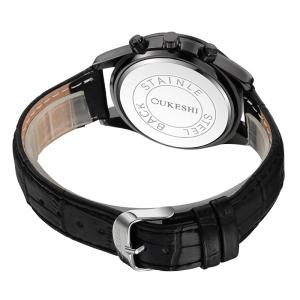 OUKESHI Date Number Faux Leather Strap Watch - BLACK