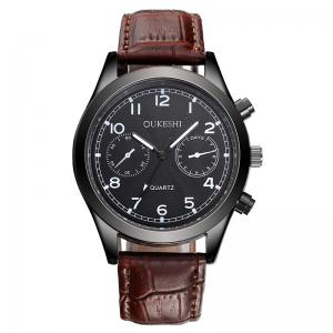 OUKESHI Faux Leather Strap Number Analog Watch - Brown