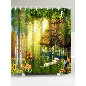 Waterproof Forest House Print Bath Curtain