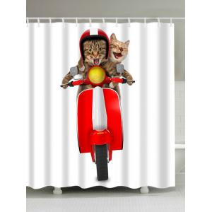 Extra Long 3D Cats Riding Motorcycle Shower Curtain - Colorful - W71 Inch * L79 Inch