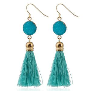 Natural Stone Tassel Hook Drop Earrings - Peacock Blue