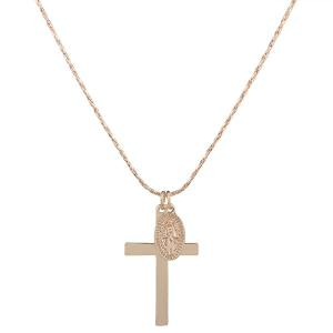 Engraved Jesus Oval Cross Pendant Necklace