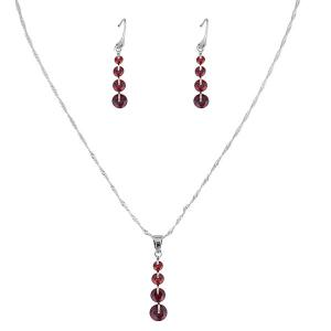 Rhinestone Collarbone Necklace with Earring Set