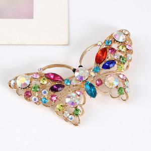 Faux Crystal Rhinestone Butterfly Brooch - COLORMIX