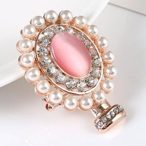 Rhinestone Faux Pearl Oval Brooch - GOLDEN