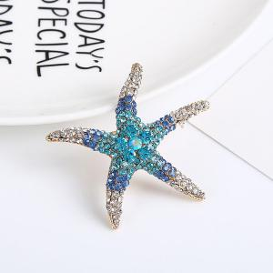 Rhinestone Starfish Cute Brooch - Light Blue - W16 Inch * L47 Inch
