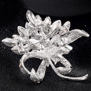Artificial Sapphire Flower Design Brooch -