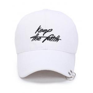Letters Embroidery Double Metal Circle Baseball Cap - WHITE