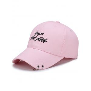 Letters Embroidery Double Metal Circle Baseball Cap - Pink