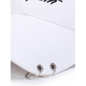 Letters Embroidery Double Metal Circle Baseball Cap -