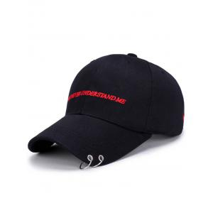 Letters Embroidered Double Circles Baseball Hat - Black