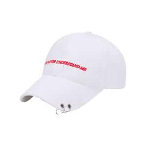 Letters Embroidered Double Circles Baseball Hat - WHITE