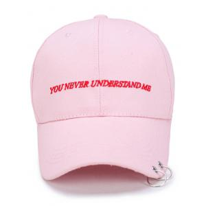 Letters Embroidered Double Circles Baseball Hat - PINK