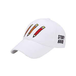 Pencil Letters Embroidered Baseball Cap - WHITE
