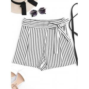 Bowknot Stripe High Waisted Shorts