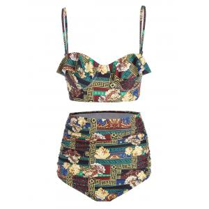 Floral High Waist Plus Size Underwire Bikini - Colormix - 2xl