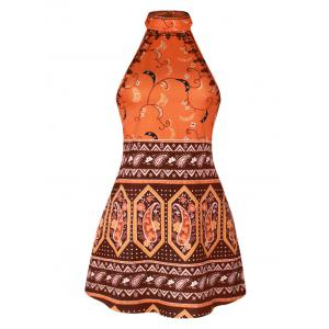 Backless Halter Tribal Print Dress - Colormix - Xl