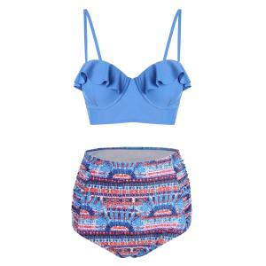 High Waisted Printed Plus Size Bikini Set - Colormix - 3xl