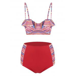 Plus Size High Waisted Print Bikini Set - Colormix - 3xl