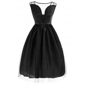 Vintage Mesh Panel Fit and Flare Dress - Black - S