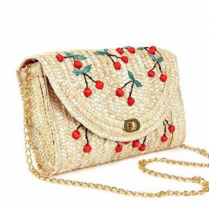Fruit Embroidery Straw Crossbody Bag - RED